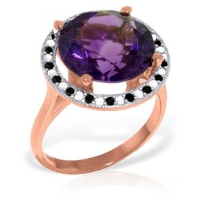 RING WITH NATURAL BLACK WHITE DIAMONDS & AMETHYST